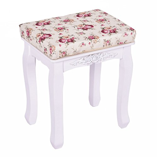 MyEasyShopping White Cushioned Vanity Stool Piano Seat Stool Vanity Cushion White Seat Bedroom Bench Chair Cushioned by MyEasyShopping