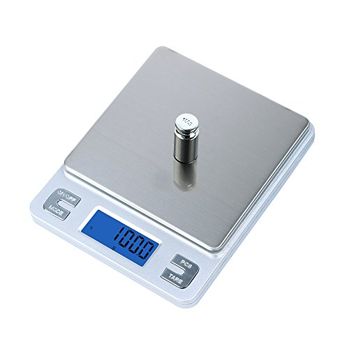 Dapai Mini Digital Kitchen Scale Travel Size Food Scale 0.1g-3kg with Tare Function - Stainless - Food Scale Kitchen