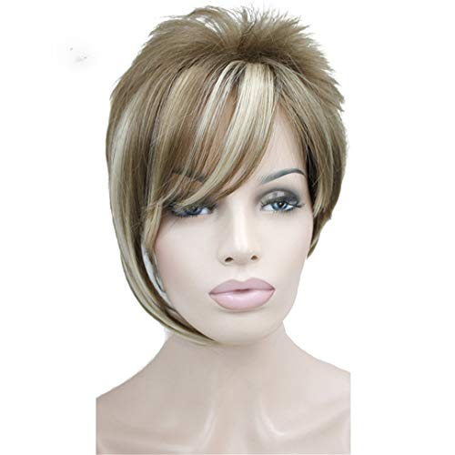 - Light Auburn With lights Inclined Bangs Short Straight Synthetic Hair Wig For Girl 12-F26 6inches
