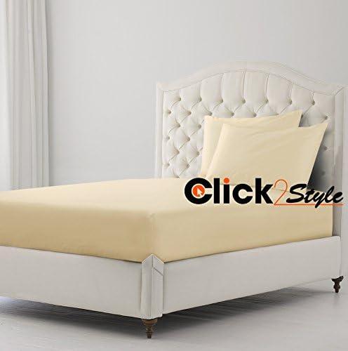 Clicktostyle Sábana bajera de poli algodón, color liso, sábana ...