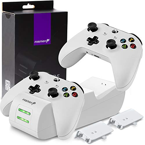 Fosmon Xbox One, One X, One S Dual Controller Charger (Dual Slot) High Speed Docking Charging Station with x2 Rechargeable Battery Packs - White