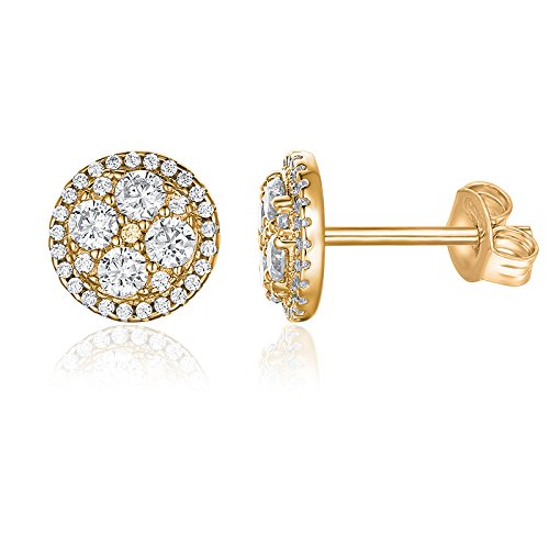 PAVOI 14K Yellow Gold Plated Sterling Silver Post Halo Cluster Cubic Zirconia Stud Earrings for Women | Yellow Gold Earrings