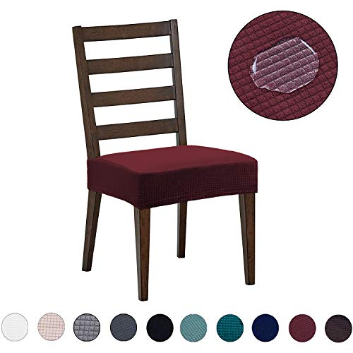 Dining Chair Covers(4 Pack) – Water Repellent,Easy to Install,High Stretch – Dining Room Chair Seat Slipcover/Protector/Shield for Dog Cat Pets,Burgundy