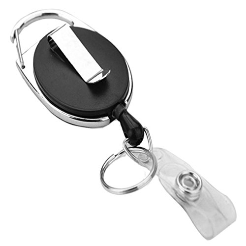 lotusflowert Retracting ID Card/Badge Reel, BLACK, 30'' Retractable Nylon Cord, Carabiner Style (Sold Individually) (Retracting Reel)