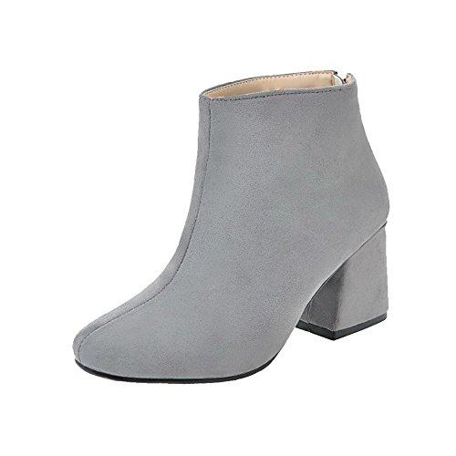VogueZone009 Damen Reißverschluss Mittler Absatz PU Rein Quadratisch Zehe Stiefel Grau