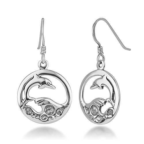 Jumping Dolphin Dangle - 925 Sterling Silver Open Jumping Dolphin Playing Sea Waves Round Dangle Hook Earrings 1.25
