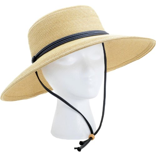 Sloggers 442LB01 Women's  Wide Brim Braided Sun Hat with Wind Lanyard - Light Brown - Rated UPF 50+  Maximum Sun Protection