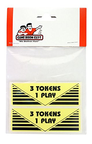- Game Room Guys Arcade Pinball 3 Tokens 1 Play Sticker - Set of 2