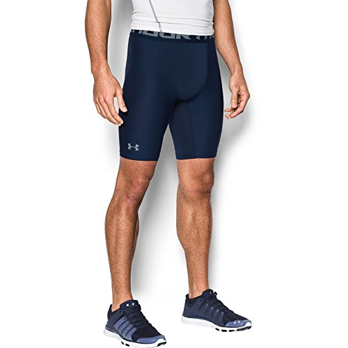 Under Armour Men's HeatGear Armour Long Compression Shorts, Midnight Navy/Steel, Large