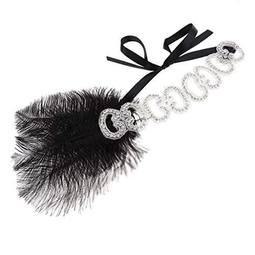 1920s Black Feather Headband Wedding Rhinestone Headpiece Flapper Costume