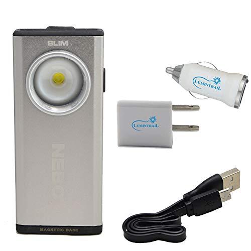 NEBO Slim 500 Lumen LED Rechargeable Pocket Light Flashlight Bundle with Lumintrail USB Car and Wall Adaptors (Silver)