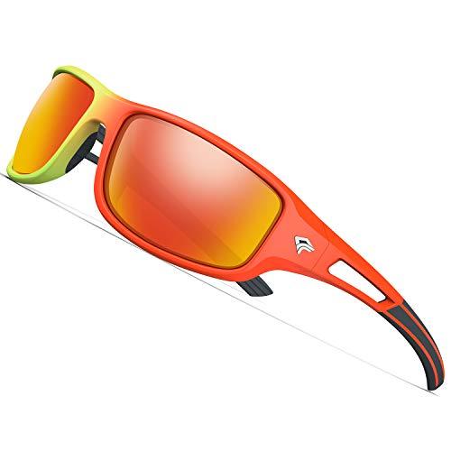 TOREGE Polarized Sports Sunglasses for Men Women Cycling Running Driving Fishing Golf Baseball Glasses EMS-TR90 Unbreakable Frame TR03 (Orange&Fluorescent Green Frame with Red Lens)