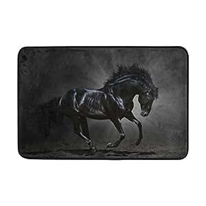 lorvies negro caballo Felpudo, forma de puerta de interior al aire libre alfombra de entrada con base antideslizante., (23.6por 15.7-inch)