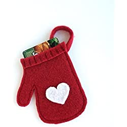 Valentine's Day Gift Card Holder - Tree Ornament - Felted Red Wool Mitten with White Heart