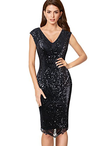 - VFSHOW Womens V Neck Floral Sequin Embroidery Cocktail Evening Sheath Dress 015 BLK L