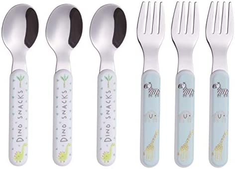 Toddler Cutlery Sets,Stainless Steel Childrens Flatware,Cute Giraffe Style Handle Fork /& Spoon Flatware Baby Feeding Utensil for Childrens with Storage Box