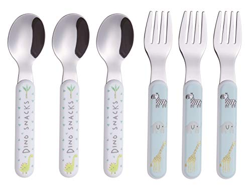 Exzact Kids Silverware 6 Pieces Stainless Steel Children's Cutlery Flatware Set - 3 x Kids Forks, 3 x Dinner Spoons Plastic Handle, Toddler Utensils Without Knives, for Babies, Infants BPA Free (Spoon Stainless Infant Steel)