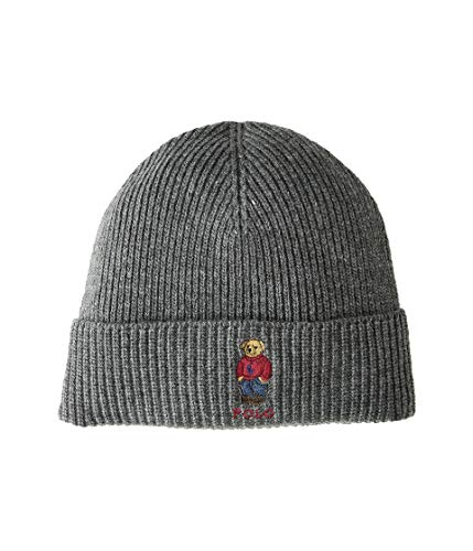 Polo Ralph Lauren Unisex Bear Design Wool Winter Skulllie Cap Beanie Hat One Size (Dark Gray/Red Sweater)