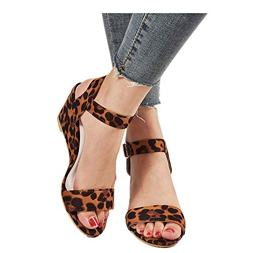 Women's Ankle Strap Buckle Mid Wedge Platform Heeled Sandals 6.5CM Summer Dress Sandals Pump Shoes (Beige -2, US:8.0)