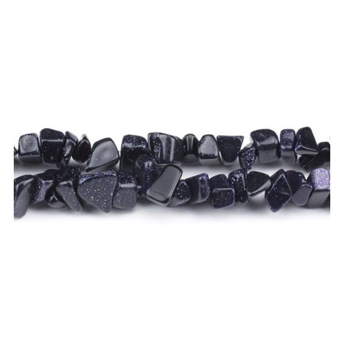 Long Strand Of 240+ Blue Goldstone 5-8mm Chip Beads - (GS3159) - Charming - Blue Chip Goldstone