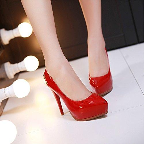 Plate-forme Minivog Femmes Haut Talon Chaussures De Pompe De Mode Rouge