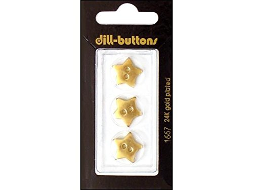 Dill Buttons 15mm 3pc 2 Hole Star (Gold Star Button)