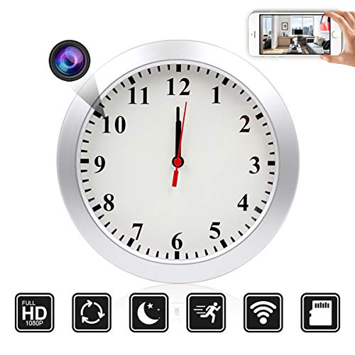 SUSZAVSS Wireless Indoor 1080P hd Wall Clock Hidden Nanny Camera/pet Camera Remote Real-time Video Activated Home Security, for Home Office Real-time Wall Clock and Home Monitoring