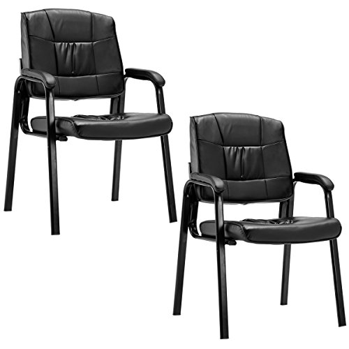 Giantex 2 PCS Reception Chair PU Leather Office Executive Ergonomic Guest Meeting Chair Black - Executive Black Leather Guest Chair
