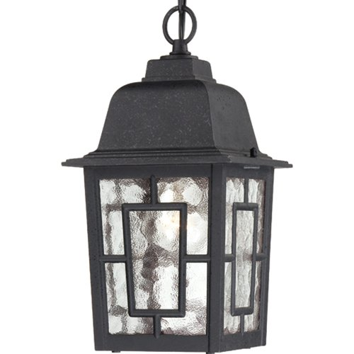 Black Outdoor Fixture - Nuvo Lighting 60/4933 Banyon One Light Hanging Lantern 100 Watt A19 Max. Clear Water Glass Textured Black Outdoor Fixture