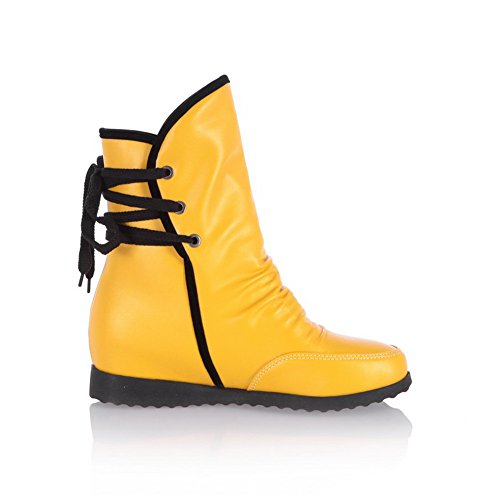 Bandage Kitten with US B M AmoonyFashion Round Heels Womens Boots Solid 5 Toe Closed Yellow Platform PU and BTIqSw7