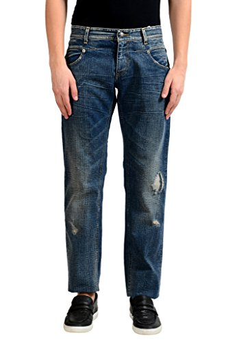 C'N'C Costume National Men's Blue Distressed Classic Jeans US 32 IT 48;