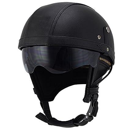 Woljay Leather Motorcycle Goggles Vintage Half Helmets Motorcycle Biker Cruiser Scooter Touring Helmet