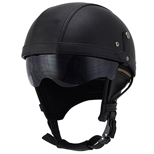 Woljay Leather Motorcycle Goggles Vintage Half Helmets Motorcycle Biker Cruiser Scooter Touring Helmet (Black with Drop Down Sun ()