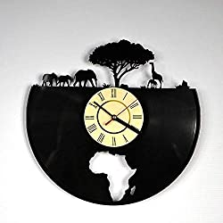 12 Inches / 30CM Vinyl Record Wall Clock African Elephant LED Lp Backlight Night Light Clock Modern Handmade Art Decoration Seven Colors- Kitchen Home Room