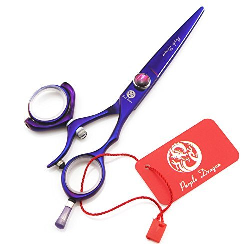 Tianyu 5.5 Inch Purple Hair Cutting Scissors 360 Degree Swivel Thumb Handle 440C Barber Shears with Scissors Bag from Tianyu