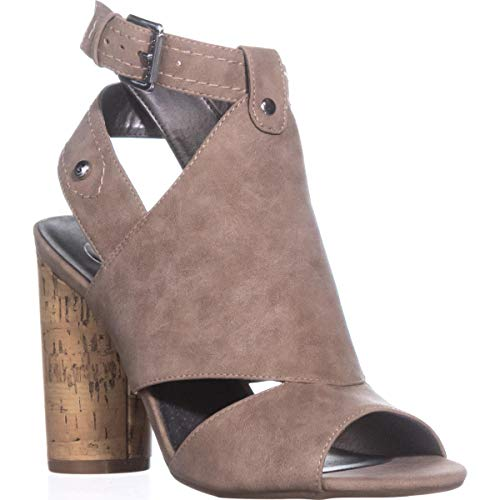 G by GUESS Womens Jonra Open Toe Casual Ankle Strap Sandals, Tan, Size 9.5 (Ankle Sandals Guess Strap)