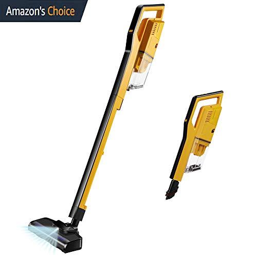 Cordless Vacuum Cleaner, 4 in 1 Stick Handheld Vacuum Lightweight 400W 7 Kpa Digital Motor,Upright Vacuum Cleaning for Pets Hair Hard Floor Carpet(Yellow)