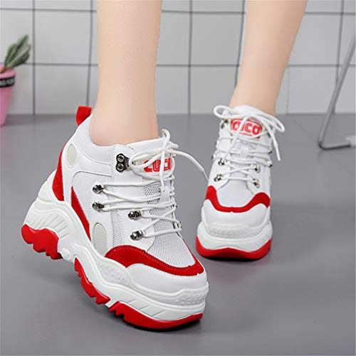 Tacones aumentó Zapatos Transpirables Rojo Las Plataforma Zapatillas Interna Casual de con cuña Malla Zapatos Alta Mujeres 0PxW4qI