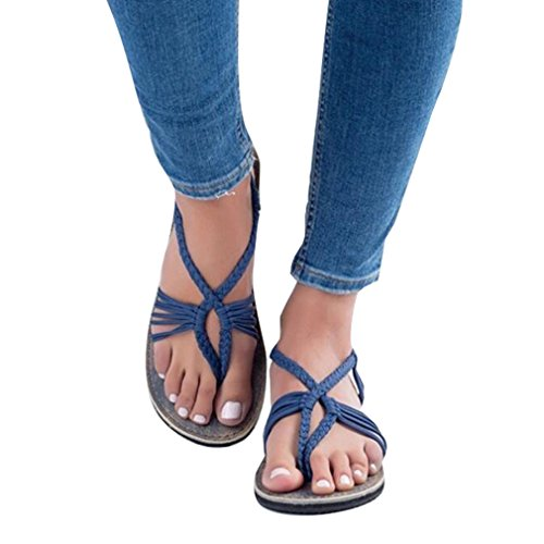 Juleya Womens Flats Sandals Bandage Open Toe Flip-Flop Slippers Thongs Fashion Breathable Anti-Slip Casual Beach Shoes 36-43 Q5 Blue 8Q5TPNdcz7