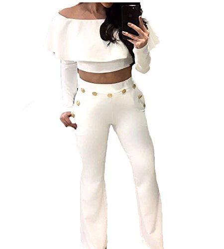 White Ruffled Top Outfit (Elegant Women Off Shoulder Ruffled Long Sleeve Crop Top and Long Pants Outfit (S, White))