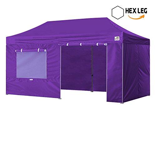 New Eurmax 10x20 Ft Premium Ez Pop up Instant Canopy Outdoor canopy Package deal Party Tent Wedding Gazebo Quick shelter Commercial grade +4 Sidewalls Bonus Roller bag (Purple)