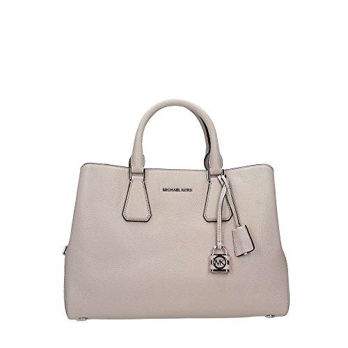 Michael Kors Ladies Camille Large Leather Satchel Handbag Gris