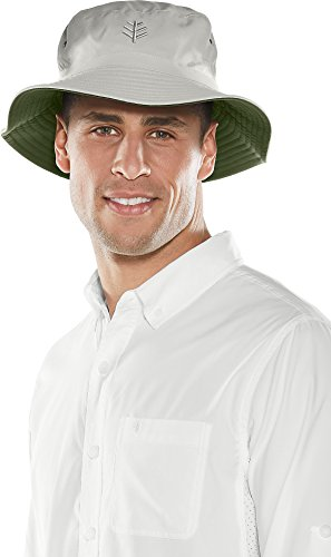 Coolibar UPF 50+ Men's Women's Reversible Bucket Hat - Sun Protective (Large/X-Large- Olive/Stone) ()
