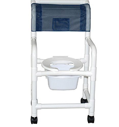 MJM International 118-3TW-OF-DDA-SQ-PAIL Standard Shower Chair with True Open Front Frame, Double Drop Arms and Commode Pail, 300 oz Capacity, 40.5