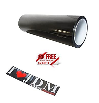 iJDMTOY 12 by 48 inches Self Adhesive 20% Dark Black Headlights, Tail Lights, Fog Lights Tint Vinyl Film