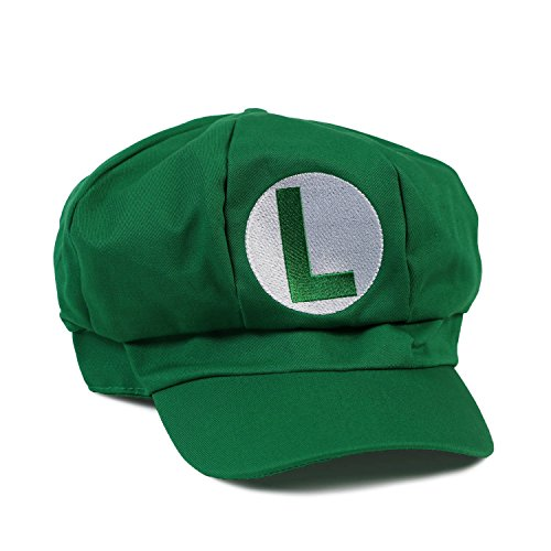 [Mario, Luigi, Wario, Waluigi, Fire Mario Embroidered Nintendo Newsboy Hat - Green Luigi] (Nintendo Costumes For Adults)