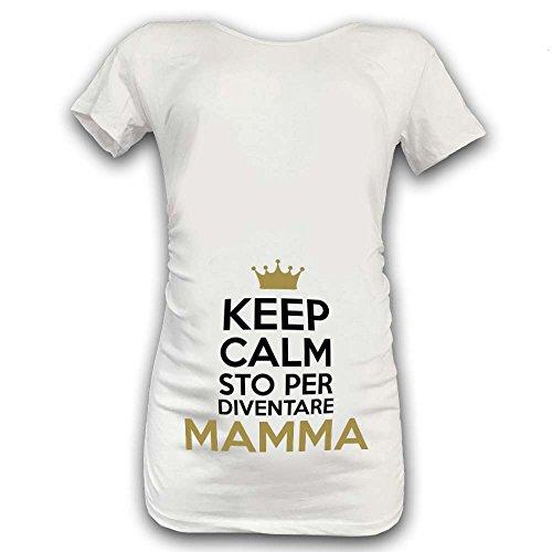 Sto Per Maglia Diventare T Grafica Manica Mamma Oro Premaman Calm Xl Shirt Keep Bianca Corta B4wXxcqxYg
