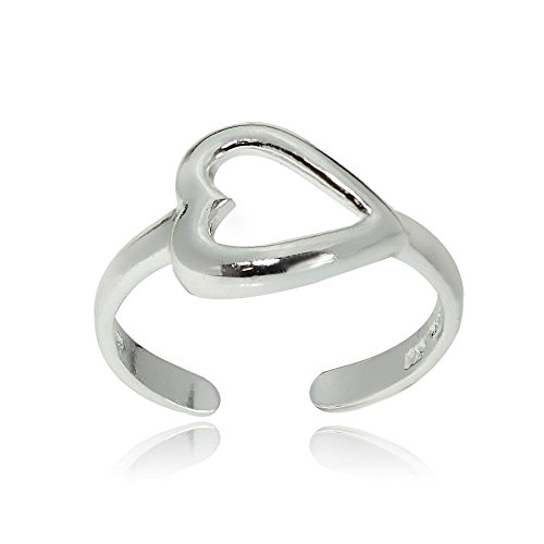 Hoops & Loops Sterling Silver Polished Open Heart Toe Ring by Hoops & Loops