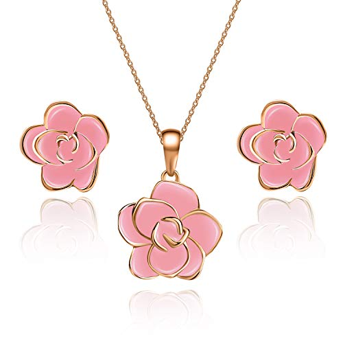 EVEVIC Rose Flower Necklace Earrings Set for Women Girls 18K Gold Plated Jewelry Sets (Pink/Rose Gold-Tone)