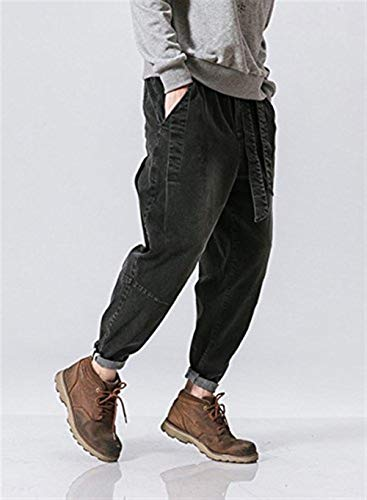 A Comodo Jeans Denim Nero Harem Larghi Battercake Jogging Vita Stile Bassa Uomo Pantaloni Da 8ZynqWp4